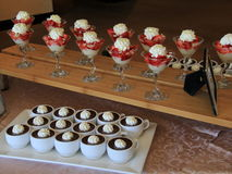Fruit parfaits and chocolate pudding Royalty Free Stock Photography