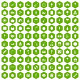 100 fruit party icons hexagon green. 100 fruit party icons set in green hexagon isolated vector illustration Stock Images