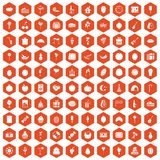 100 fruit party icons hexagon orange Stock Photo
