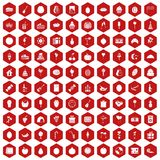100 fruit party icons hexagon red. 100 fruit party icons set in red hexagon isolated vector illustration Royalty Free Illustration
