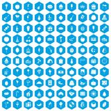 100 fruit party icons set blue. 100 fruit party icons set in blue hexagon isolated vector illustration Royalty Free Stock Photo