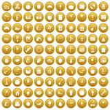 100 fruit party icons set gold. 100 fruit party icons set in gold circle isolated on white vectr illustration stock illustration