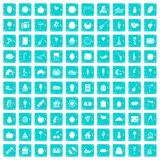 100 fruit party icons set grunge blue Royalty Free Stock Image
