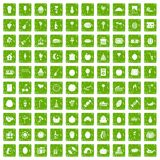 100 fruit party icons set grunge green Stock Photo