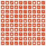100 fruit party icons set grunge orange. 100 fruit party icons set in grunge style orange color isolated on white background vector illustration royalty free illustration