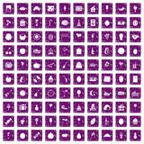 100 fruit party icons set grunge purple Royalty Free Stock Photos