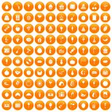 100 fruit party icons set orange. 100 fruit party icons set in orange circle isolated vector illustration royalty free illustration