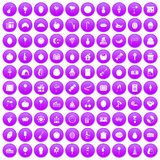 100 fruit party icons set purple. 100 fruit party icons set in purple circle isolated vector illustration stock illustration
