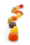 Fruit Pastilles Shallow Depth of Field. Fruit pastille sweets with a very shallow depth of field on a white background Royalty Free Stock Image