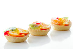 Fruit pastry. Several fruit pastry against the white background Stock Photos