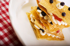 Fruit Pastry. Phyllo Dough Pastry with Strawberries and Blueberries stock photos