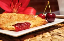 Fruit pastry. Cherry turnover. Royalty Free Stock Photography