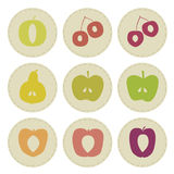 Fruit patches. Patches with various fruit - illustration Stock Images