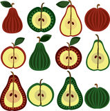 Fruit pattern, apples and pears Royalty Free Stock Photography