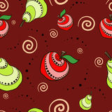 Fruit Pattern. Apples, pears and spirals on a dark background Stock Photography