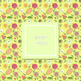 Fruit pattern with banner for text. vector illustration Royalty Free Stock Photography