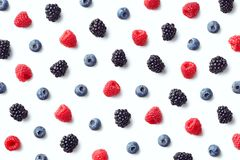 Fruit pattern of colorful wild berries stock images