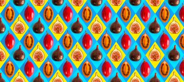 Fruit pattern. Flat lay food. Fig and Tamarillo pattern. Healthy fruit Royalty Free Stock Image