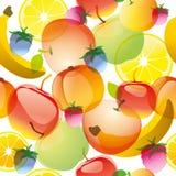Fruit pattern. Fruits and berries summer background. Apple, orange, lemon, raspberries and banana for best summer design Royalty Free Stock Image