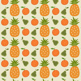 Fruit pattern. Seamless pattern with orange and pineapple pear Stock Photography