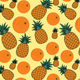 Fruit pattern. Seamless pattern with pineapple and oranges Stock Photos