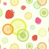 Fruit pattern. Strawberry orange lemon kiwi lime Royalty Free Stock Images
