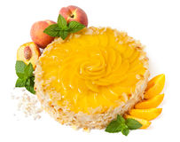 Fruit peach cake. Fruit peach cheese cake isolated on white Royalty Free Stock Image