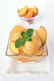 Fruit peach ice cream Royalty Free Stock Photos