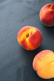 Fruit peaches on a dark background Royalty Free Stock Image