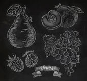 Fruit pear, peach, raspberry, grape chalk Royalty Free Stock Images