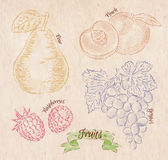 Fruit pear, peach, raspberry, grape country Stock Images