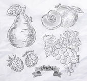 Fruit pear, peach, raspberry, grape vintage Royalty Free Stock Photo