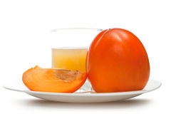 Fruit persimmons and   juice Royalty Free Stock Photos