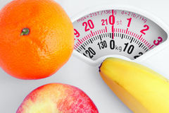 Fruit on a personal scale. Stock Image