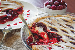 Fruit pie with cherries Royalty Free Stock Images