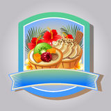 Fruit pie emblem. Emblem or label with fruit pie and tropical theme Stock Photos