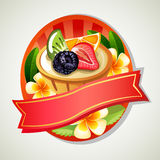 Fruit pie emblem. Label or emblem in tropical theme Royalty Free Stock Photography