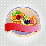 Fruit pie label. Label or emblem with two fruit pie Royalty Free Stock Photography