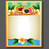 Fruit pie poster. Label or emblem in tropical theme Stock Photography