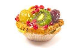 Fruit pie tart isolated. On white stock image
