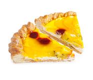 Fruit pie. Two piece. Cherry and pineapple. Isolated. Closeup Stock Photos