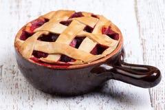 Fruit pie on white table. Fruit pie on wooden white table royalty free stock photos