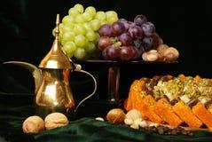 The fruit-piece. The fruit piece on dark green velvet Royalty Free Stock Image