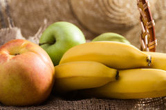 Fruit piece on brown sackcloth Royalty Free Stock Photo