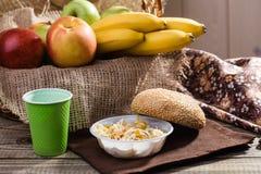 Fruit piece with bun Royalty Free Stock Photos