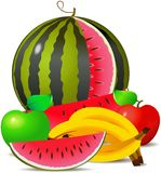 Fruit-piece with melon apple and banana Royalty Free Stock Images