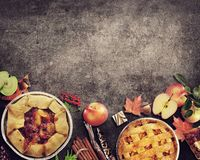 Fruit Pies on rustic background. Autumn collection stock photos