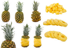 Fruit, Pineapple. Pineapples at various stages of being cut Royalty Free Stock Photos