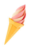 Fruit pink and vanilla ice-cream in waffle cone of origami. Stock Images