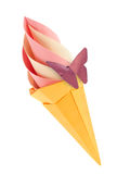 Fruit pink and vanilla ice-cream in waffle cone with purple butterfly. Royalty Free Stock Photo
